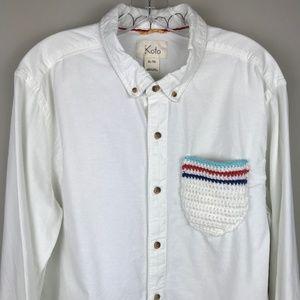 Urban Outfitters Shirts - Koto Cairo Crochet Pocket Button Up Shirt Men's XL